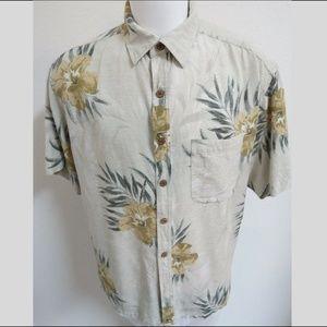 Sz XL Floral Island Republic Men #933 Silk Shirt